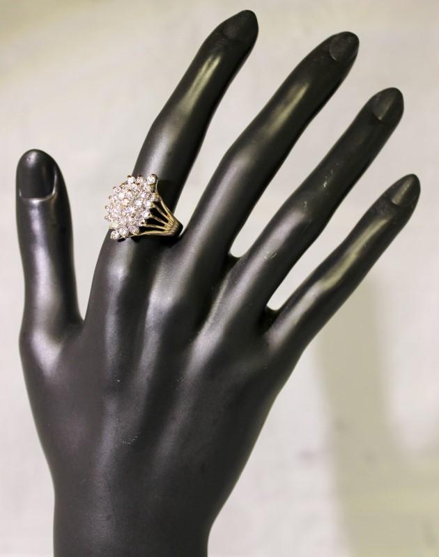 14K Yellow Gold Set Multi Split Shank Shared Prong Diamond Waterfall Ring sz 9.5