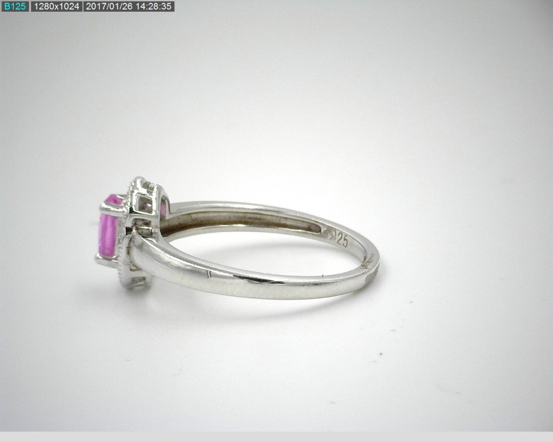 LADY'S PINK STONE RING W/MELEE S925 2.3G 7