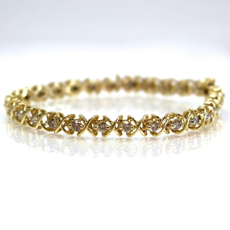 "8"" 14K Yellow Gold Criss-Cross Round Brilliant Diamond Bracelet"