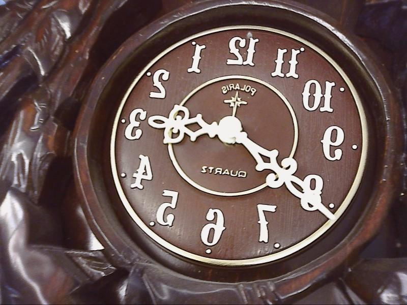 POLARIS WOOD LOOK CUCKOO CLOCK  WITH OAK LEAF PEDULUM
