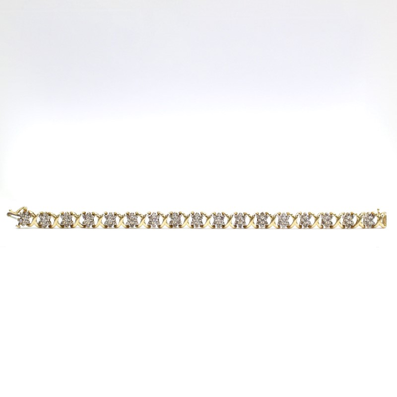 "7.5"" 14K Multi Cluster Round Brilliant Diamond Yellow Gold Bracelet"