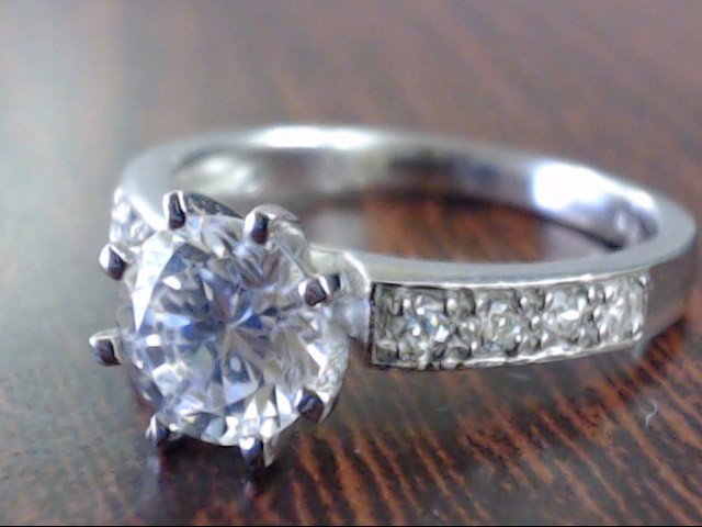 Synthetic Cubic Zirconia Lady's Silver & Stone Ring 925 Silver 3.3g Size:7.5