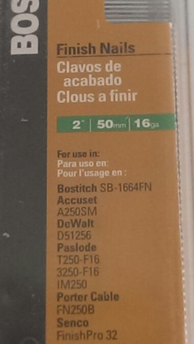 "BOSTITCH SB16-2.00-1M 2"" 50MM 16GA FINISH NAILS"