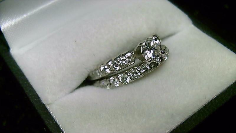 14K White Gold 1/2CT Round Diamond Center Wedding Set Rings