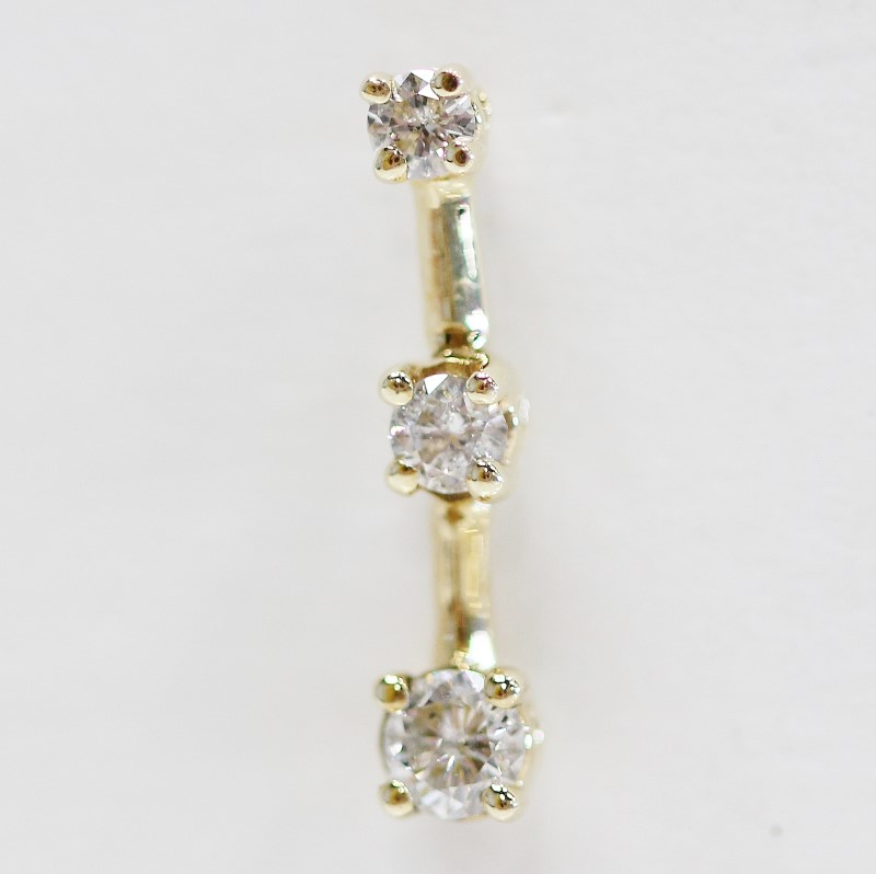 14K Yellow Gold 3 Stone Round Brilliant Diamond Stud Earrings