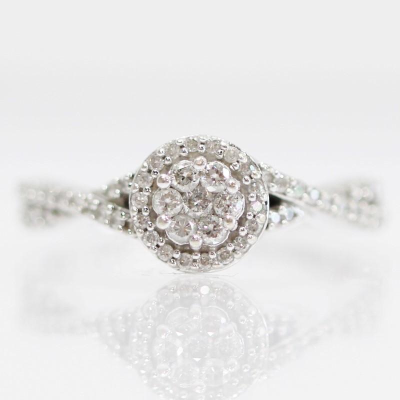 10K White Gold Round Brilliant Diamond Halo Cluster Ring Size 7