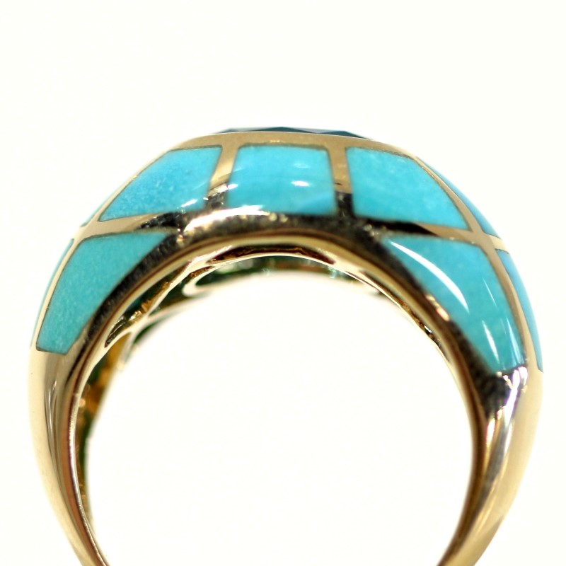 Oval Blue Topaz Set in 10K Yellow Gold & Turquoise Ring Size 8.25