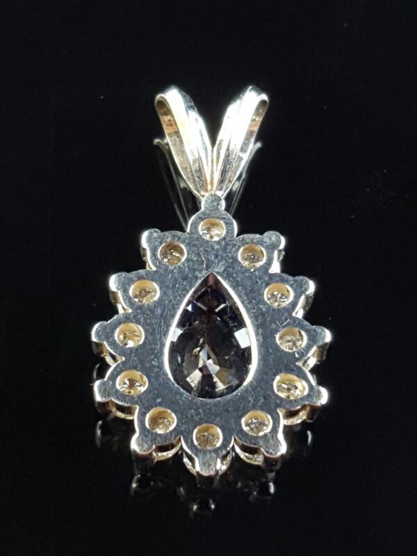 Gold-Diamond & sapphire Pendant 12 Diamonds .69 Carat T.W. 14K White Gold