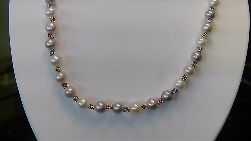 Lady's 14k tri color gray white 16inch pearl necklace