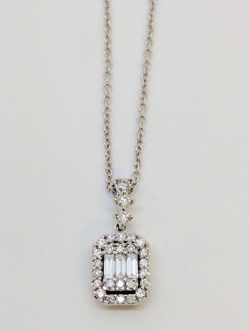 "18"" Diamond Necklace 30 Diamonds .66 Carat T.W. 14K White Gold 3.3g"