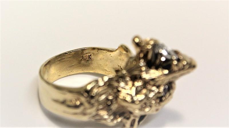 Gent's Diamond Wolf Ring 3 Diamonds .31 Carat T.W. 14K Yellow Gold 17.7g