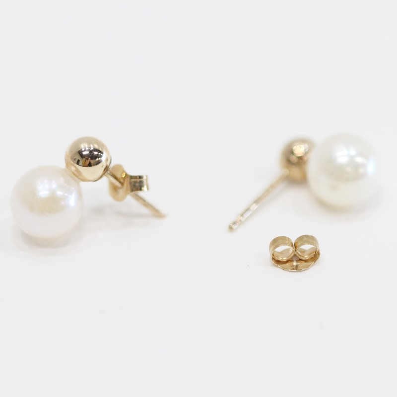 10K Round Yellow Gold & Pearl Stud Earrings