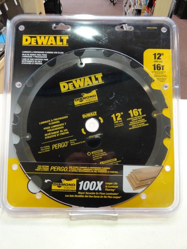 "Dewalt DWA31216PCD Laminate & Prefinished Flooring Saw Blade 12"" 16T"
