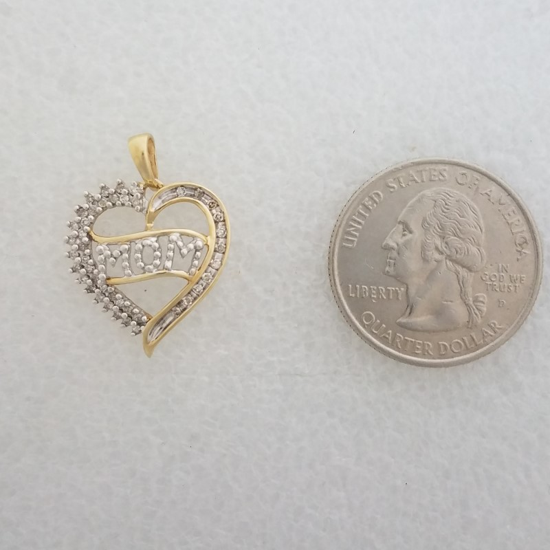 "10K Two Tone Yellow & White Gold Open Work Diamond ""MOM"" Heart Outline Pendant"