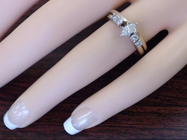 ZEI MARQUISE DIAMOND 0.43 CTW WEDDING SET RING BAND 14K GOLD SIZE 7