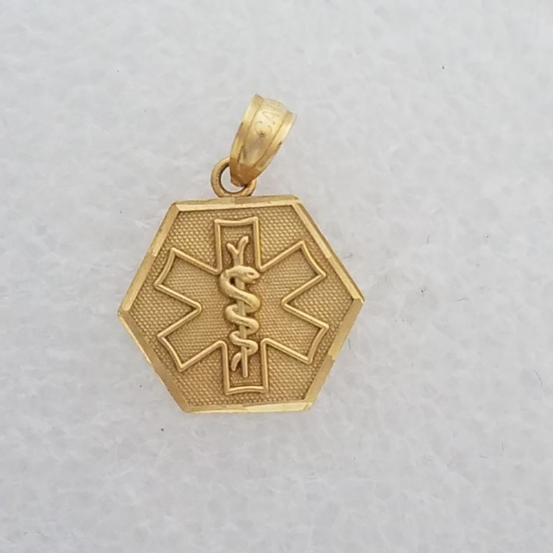 14K Yellow Gold Emergency Services EMT Star of Life Rod of Asclepius Pendant