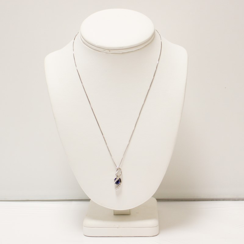 "Lovely 18"" Twisting Silver Blue and Trio White Stone Necklace"