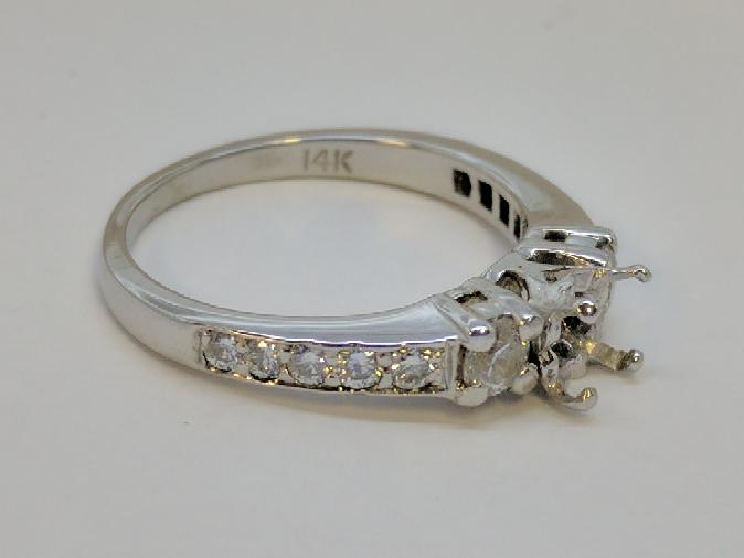 Lady's Diamond Engagement Ring Mount 12 Dias .52 Carat T.W. 14K White Gold 3.4g