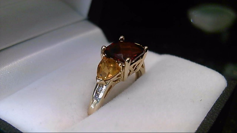 10K Yellow Gold Almandite & Spessartite Garnet Diamond Ring Sz 8.25