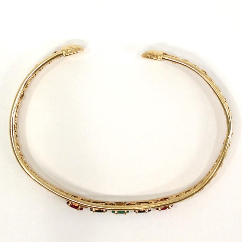 Peruvian Oval Cut Ruby, Emerald & Sapphire Stone 14K Y/G Bracelet