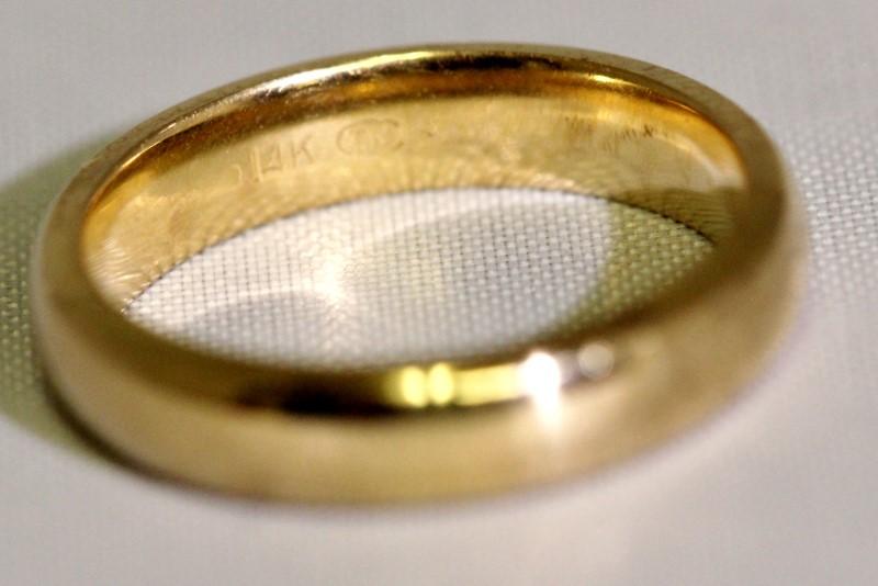 14K Yellow Gold 4mm Plain Polished Women's Wedding Ring Band Size 6