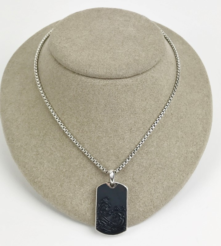 David Yurman Carved Black Onyx Sterling Silver 29.96g Necklace with Chain