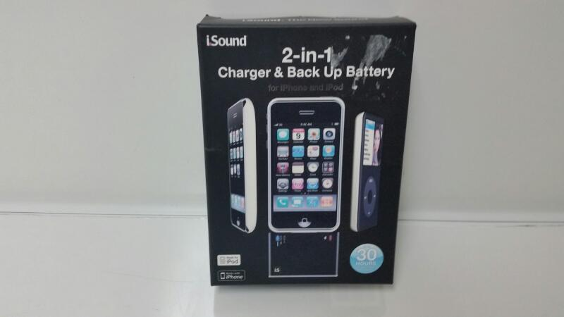 ISOUND 2-IN-1 CHARGER & BACK UP BATTERY IPOD/IPHONE