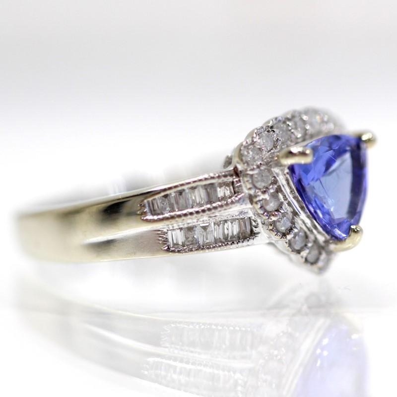 10K White Gold Halo Set Diamond & Triangular Tanzanite Ring Size 6