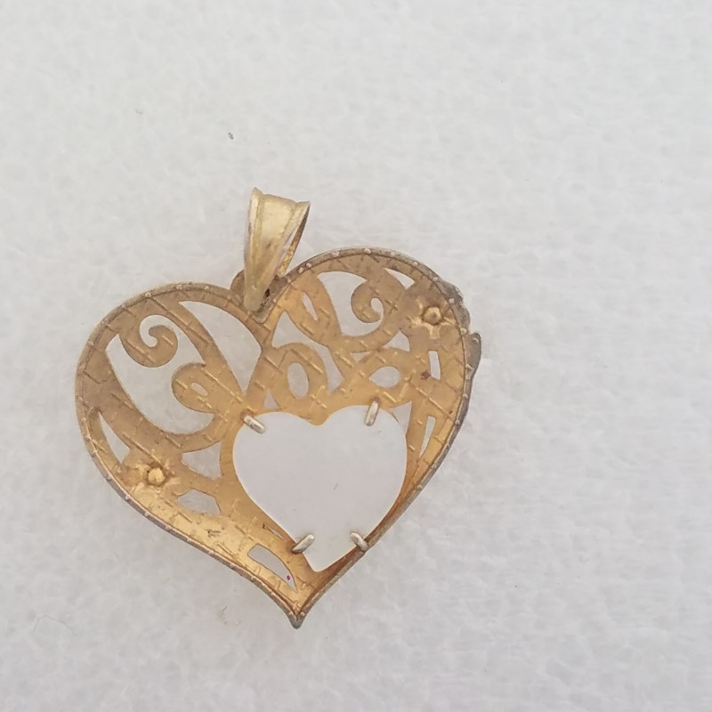 Sterling Silver Gold Toned Open Work Cursive Love Mother of Pearl Heart Pendant