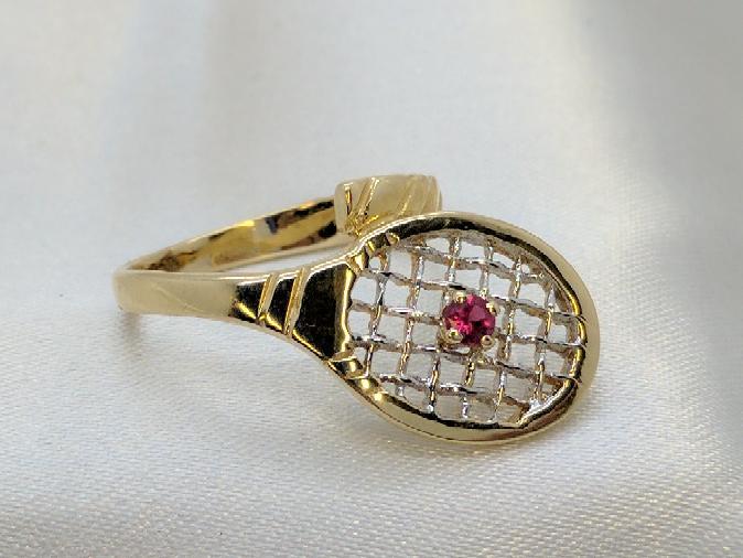 Ladies Tennis Racquet Ring 14K Yellow Gold Size-6