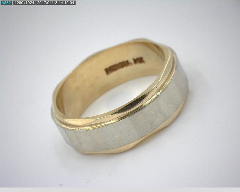 BRISTOL 14K TWO TONE WIDE BAND SZ.6.5 6.2MM