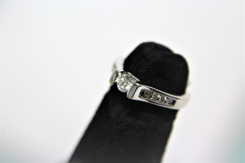 Lady's Diamond Engagement Ring 12 Diamonds .41 Carat T.W. 14K White Gold 3.6g