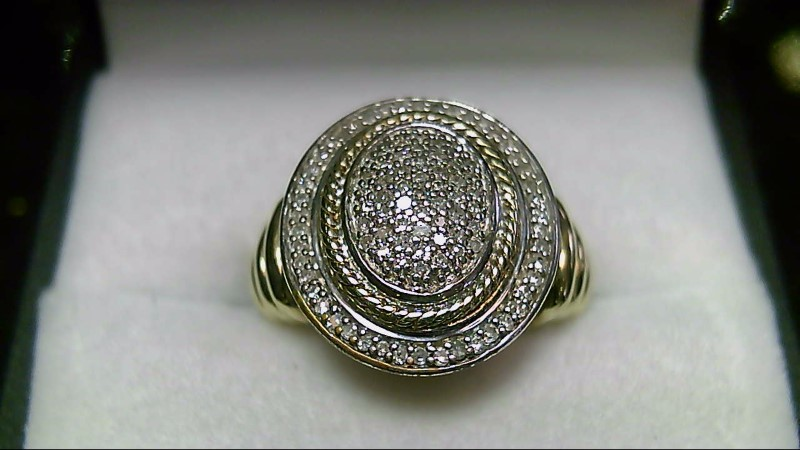 JWBR Sterling Diamond Silver Gold Overlay Ring Sz 5