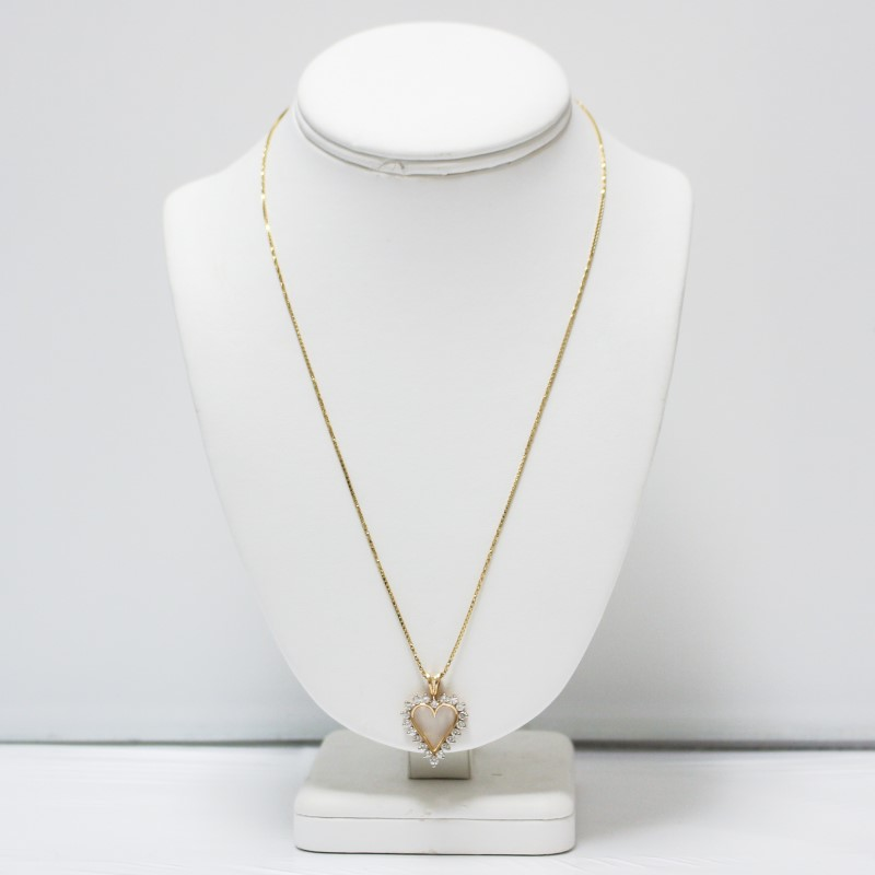 14K Yellow Gold Bead Set Round Brilliant Diamond Heart Necklace