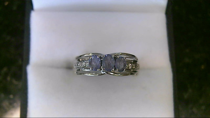 10K White Gold Tanzanite & Diamond Ring Sz 6.75
