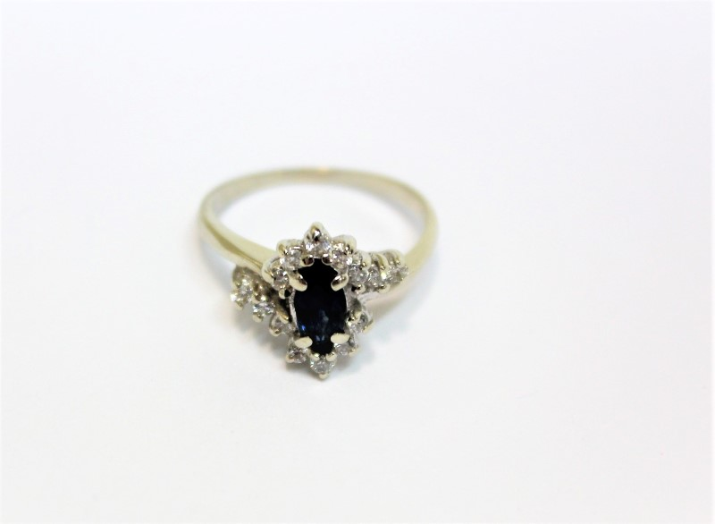 Blue Stone Lady's Stone & Diamond Ring 14 Diamonds .28 Carat T.W.