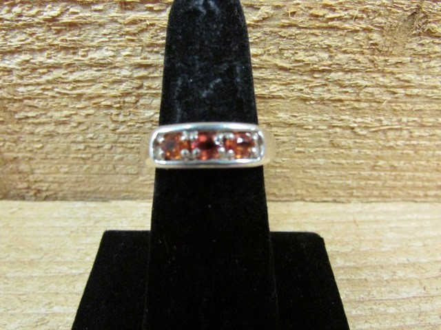 Orange Stone Lady's Silver & Stone Ring 925 Silver 3.6g Size:7