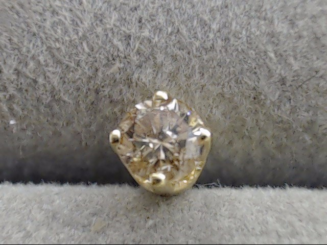 CHAMPAGNE NATURAL DIAMOND 0.22tcw SINGLE STUD EARRING REAL 10K GOLD