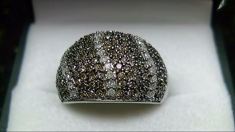 Chocolate & White 143 Diamond Cluster 925 Silver Ring Sz 7