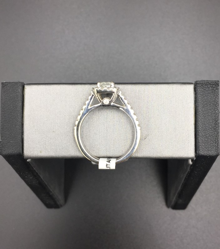 Princess Cut Engagement Ring 28 Diamonds .95 Carat T.W. 14K White Gold