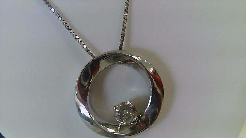 14K White Gold Diamond .35 CTTW Circle Pendant