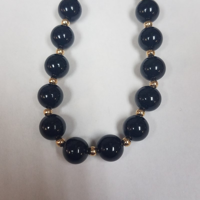 "30"" Onyx Stone Necklace 14K Gold Bead Spacers"
