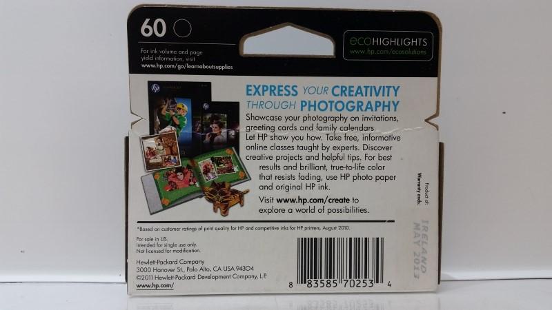 *NEW* Genuine HP 60 CC640WN Black Ink Cartridge (05/13)