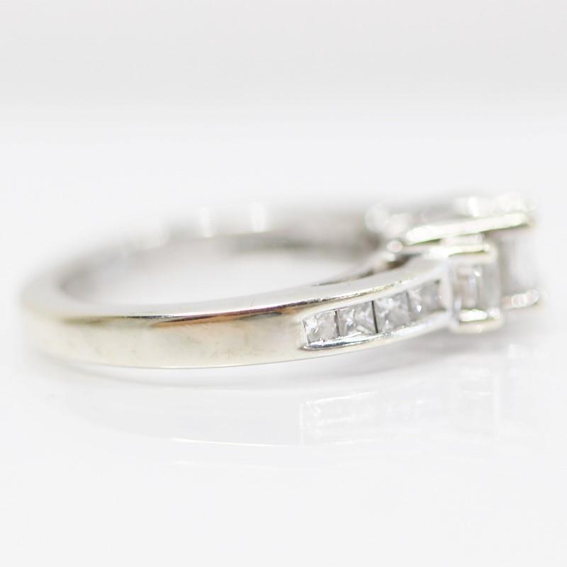 14K W/G Bead & Channel Set Princess Diamond Engagement Ring Size 4