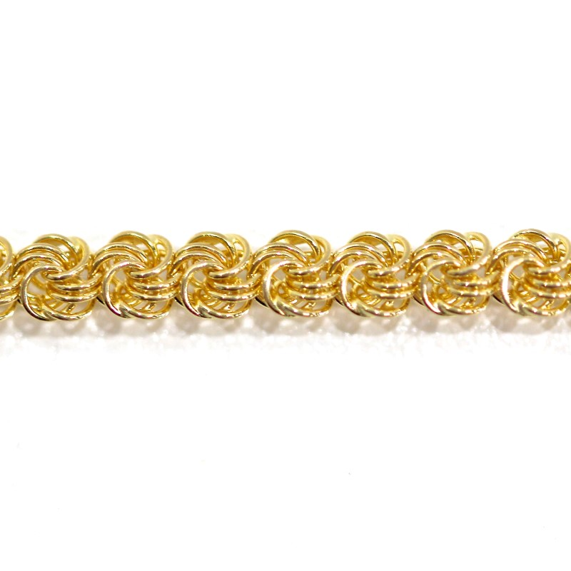 """7.5"""" 14K Yellow Gold Rope Knot Link Bracelet"""