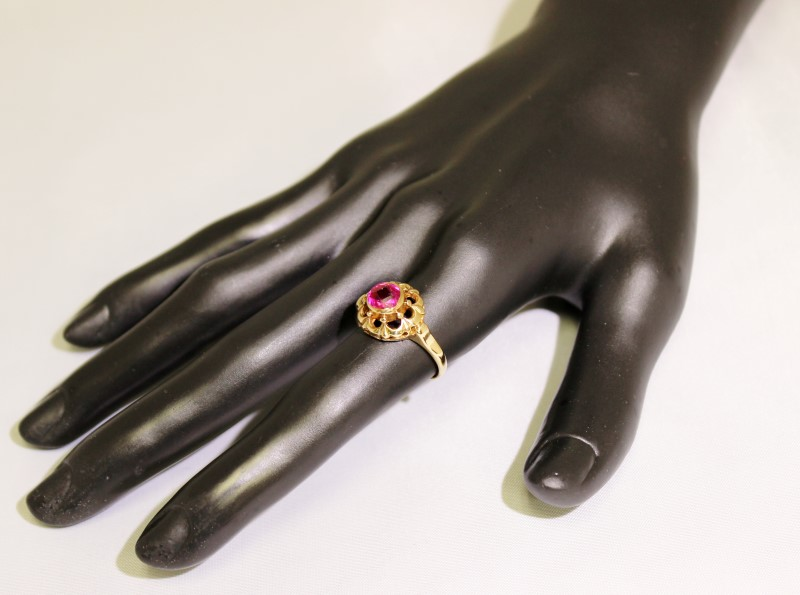 14K Yellow Gold Vintage Inspired Fancy Multifaceted Pink Tourmaline Ring sz 8.25