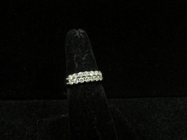 Lady's Gold-Diamond Anniversary Ring 14 Diamonds .98 Carat T.W. 14K White Gold