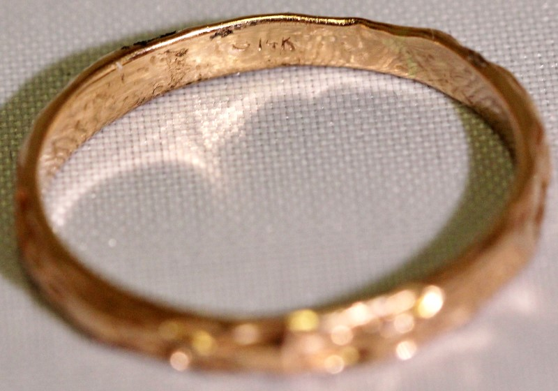14K Rose Gold Rustic Textured Eternity Wedding Stacker Ring Band sz 8