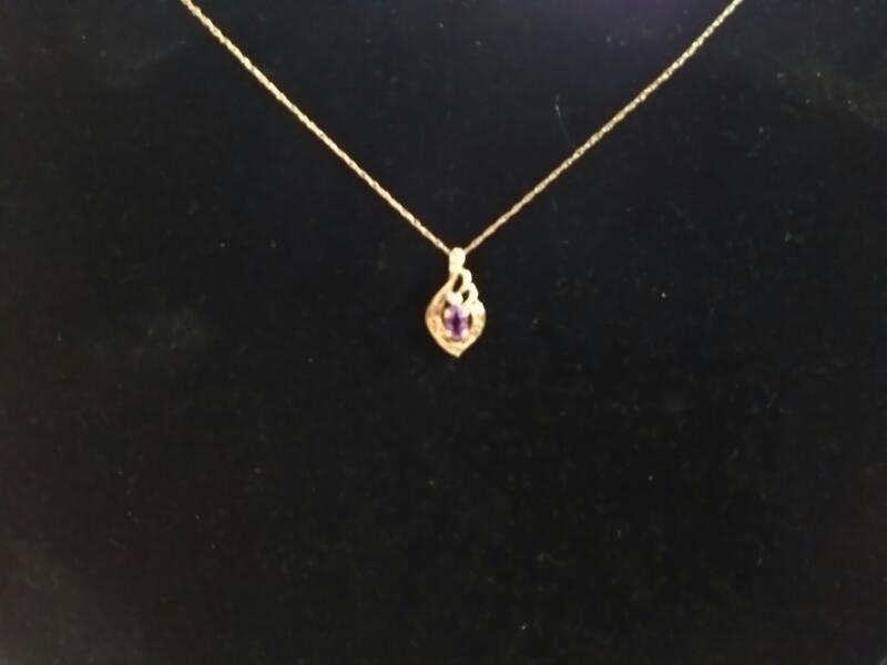 Synthetic Amethyst Necklace 14K Yellow Gold 1.8g