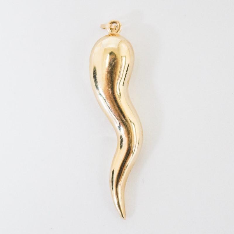 14K Yellow Gold Italian Horn